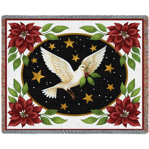 Dove and Poinsettia Blooms Art Tapestry Throw