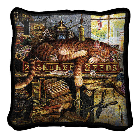 Remington The Horticulturist Cat Art Tapestry Pillow