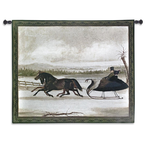 19th Century Sleigh Ride Art Tapestry Wall Hanging
