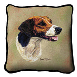 English Foxhound Dog Portrait Art Tapestry Pillow