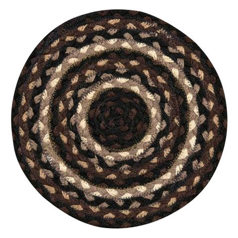 "Mocha/Frappuccino 10"" Round Braided Jute Trivet 46-313"