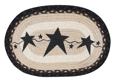 Black Primitive Stars Oval Braided Jute Placemat 48-313PSB