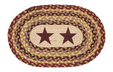 Burgundy Stars Oval Braided Jute Placemat 48-357BS