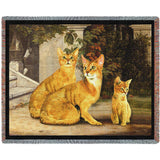 Abyssinian Cat Family Art Tapestry Throw