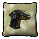 Doberman Dog II Portrait Art Tapestry Pillow