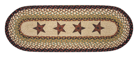 Barn Stars Oval Braided Jute Table Runner, Available in 2 Sizes