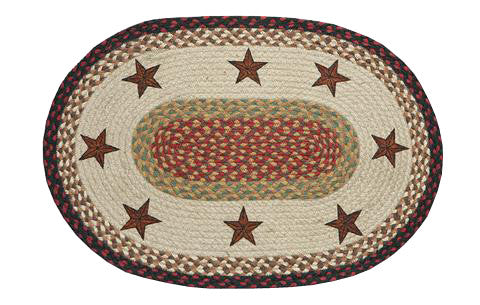 "Barn Stars 20""x30"" Oval Braided Jute Rug 65-019BS"