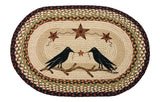 "Crows and Barn Stars 20""x30"" Oval Braided Jute Rug 65-019CBS"