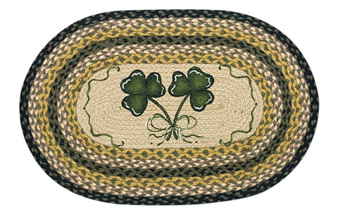 "Irish Shamrocks 20""x30"" Oval Braided Jute Rug 65-116S"