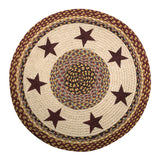 "Burgundy Stars 27"" Round Braided Jute Rug 66-357BS"