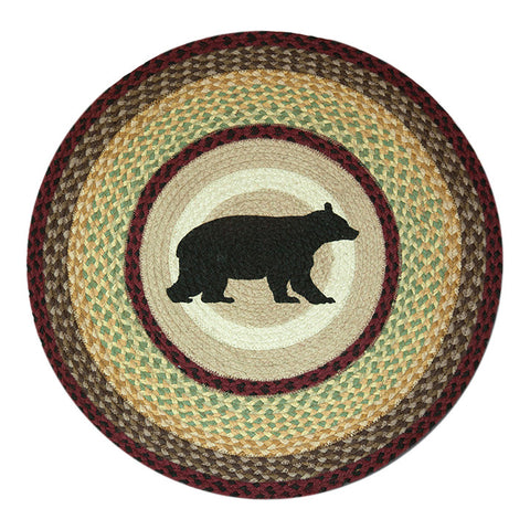 "Cabin Black Bear 27"" Round Braided Jute Rug 66-395CB"