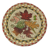 "Autumn Leaves 10"" Round Braided Jute Trivet 80-024AL"