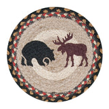 "Bear and Moose 10"" Round Braided Jute Trivet 80-043BM"