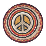 "70's Peace Sign 10"" Round Braided Jute Trivet 80-471BWP"