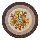 "Autumn Sunflowers 10"" Round Braided Jute Trivet 80-472AS"