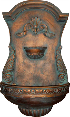 Classic Shell Motif Outdoor Wall Water Fountain, Copper Penny Color Finish
