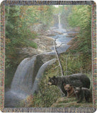 "Autumn Mist Bear Family by Kevin Daniel Tapestry Throw 50""x60"""