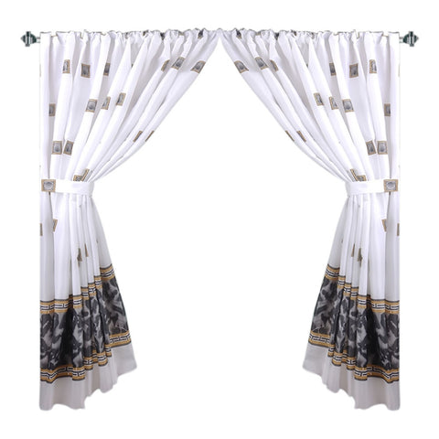 Black Faux Marble and Tile Pattern Fabric Window Curtain with Tie-Backs