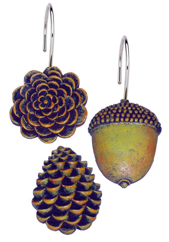 Pine Cones and Acorns Resin Shower Curtain Hooks Set