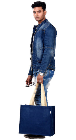 "'HAQIBA' Large ""Denim Blue"" Jute/Hessian eco friendly Reusable Shopping Grocery Tote Bag"