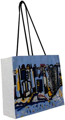 City on the Beach Jute / Hessian eco friendly Reusable Shopping Grocery Tote Bag