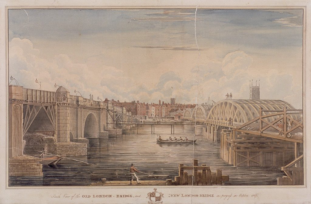 Detail of London Bridge (old and new), London by G Yates