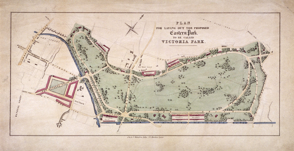 Detail of Proposed plan for Victoria Park, Hackney, London by