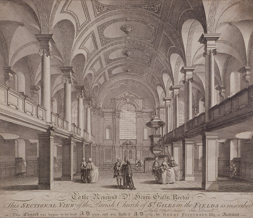 Detail of Sectional view of St Giles in the Fields, Holborn, London by Anthony Walker