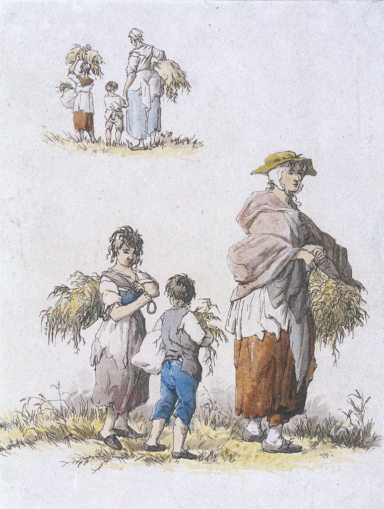 Detail of Women and  children gleaning, Provincial Characters by William Henry Pyne