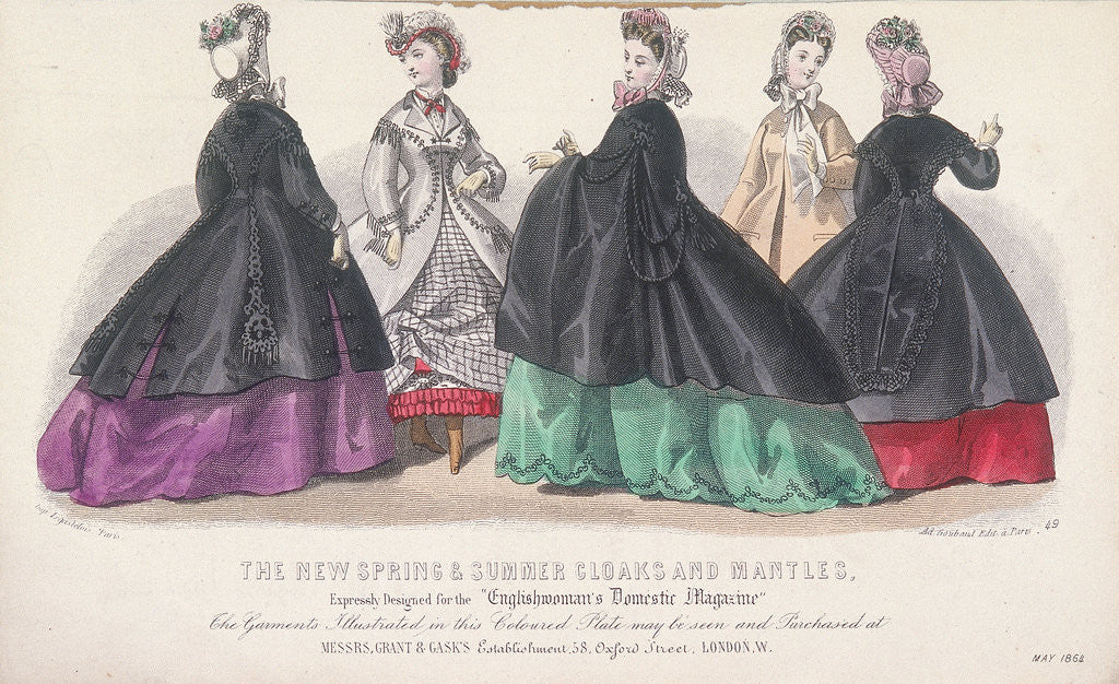 Detail of Five women wearing spring and summer coats and mantles by Anonymous