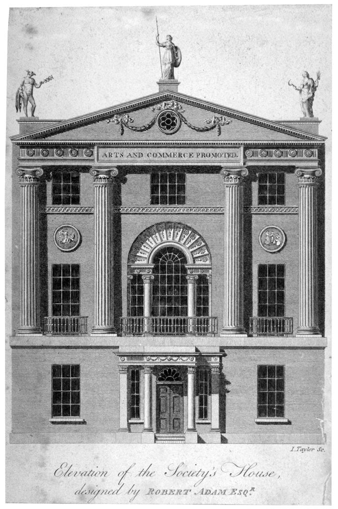 Detail of Front elevation of the Society of Arts building in John Adam Street, Westminster, London by Isaac Taylor