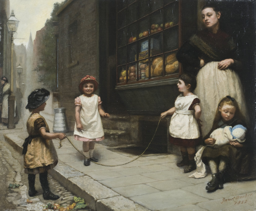Detail of Streetscene with children skipping by Janet Archer