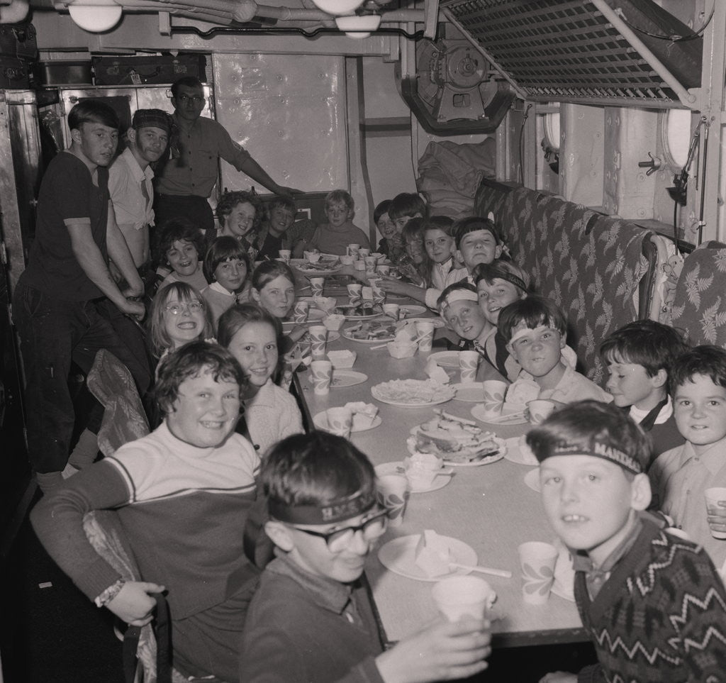 Detail of Children on H.M.S. Manxman by Manx Press Pictures