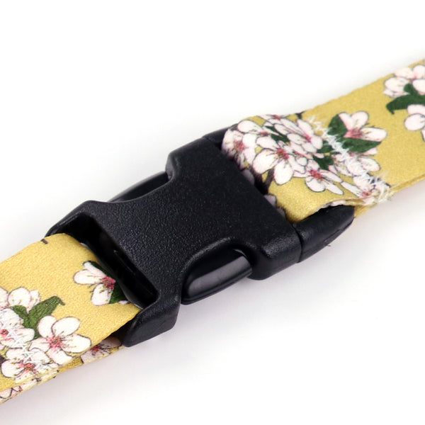 Buttonsmith Cherry Blossoms on Gold Breakaway Lanyard - Made in USA