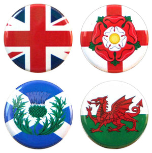 Buttonsmith® UK Flags Tinker Top® Set – Made in USA – for use with Tinker Reel® Badge Reels