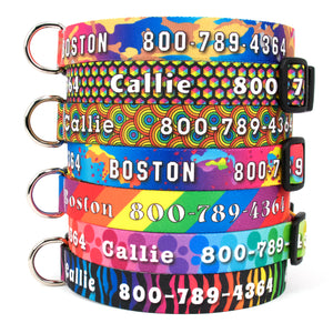 Custom Personalized Dog Collars - Rainbow Designs - Made in USA