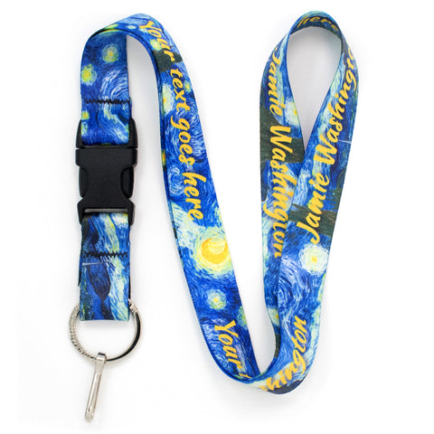 Buttonsmith Van Gogh Starry Night Custom Lanyard - Made in USA