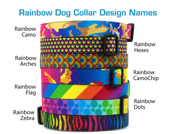 Buttonsmith Rainbow Zebra Dog Collar - Made in USA