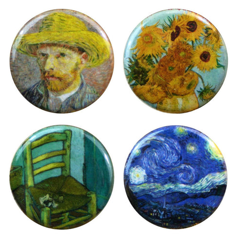 "Buttonsmith® 1.25"" Van Gogh Starry Night, Sunflowers, Chair and Straw Hat Refrigerator Magnets - Set of 4"