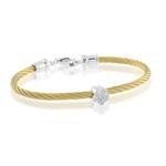 ITALGEM STEEL YELLOW-S.STEEL SILVER-925 D-0.02CT BABY-CLOVER BANGLE