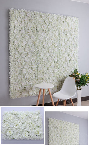 Backdrop Panel Roses Hydrangea Mat white Artificial Flower Wall - Richview Glass Wedding Supplies
