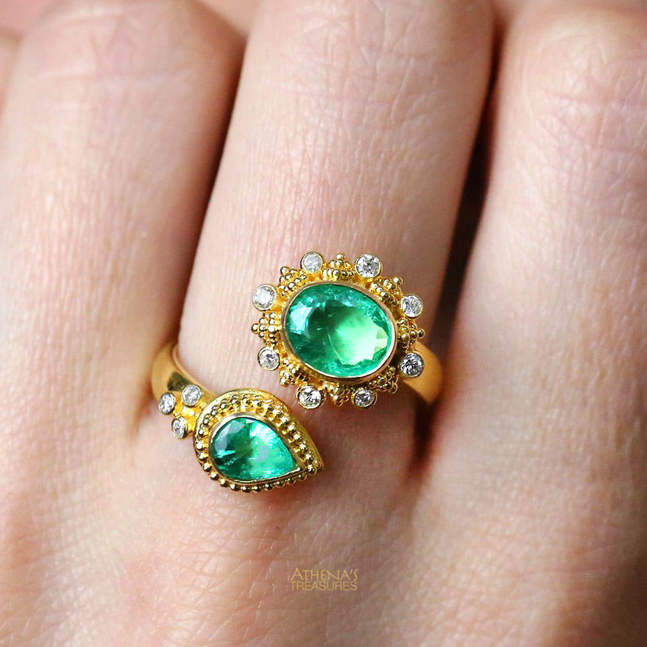 Mother and Child Emerald Diamond Bypass Ring