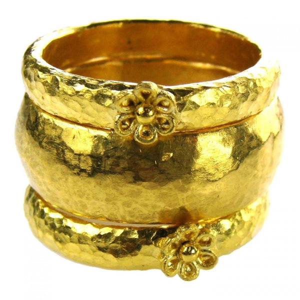 Hammered 24k Gold Band Ring Set
