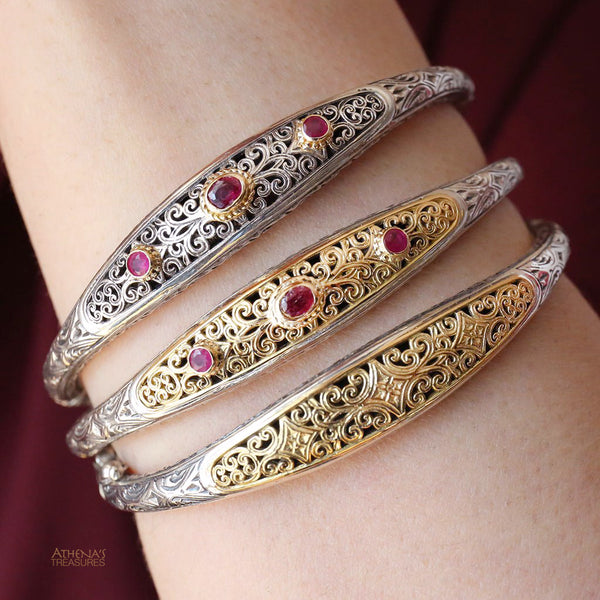 Garden Shadows Thin Ruby Bangle Bracelet