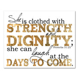 strength and dignity proverbs scripture art