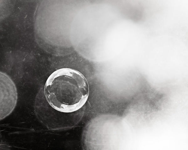 Bubble Photography Art by carolyncochrane.com | Black and White Bathroom and Laundry Art
