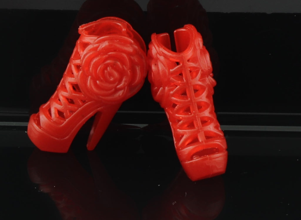 Barbie Size Shoes -- Red Sandals W/ Stiletto High Heels, Rosettes