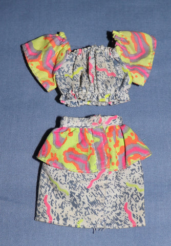 Barbie Clothes -- Faux Acid Wash Denim Top & Skirt Neon Ruffles (Purple Tag)