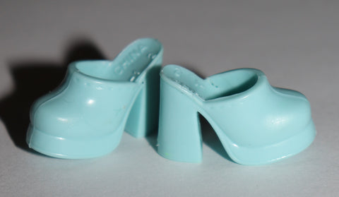 Barbie Shoes -- Light Blue Chunky Closed Toe Mules Clogs
