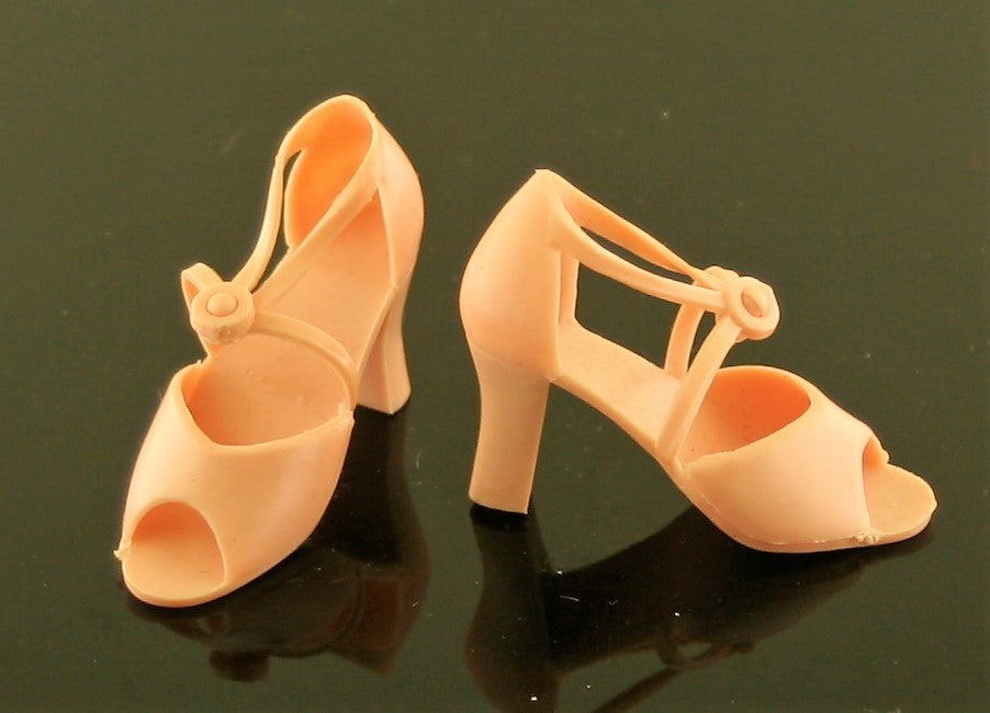 "Mego Candi Doll Shoes -- Peach Sandals for 18"" Doll VHTF"